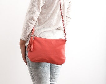 FREE SHIPPING Genuine leather cross body coral bag with chain strap tassel / coral purse