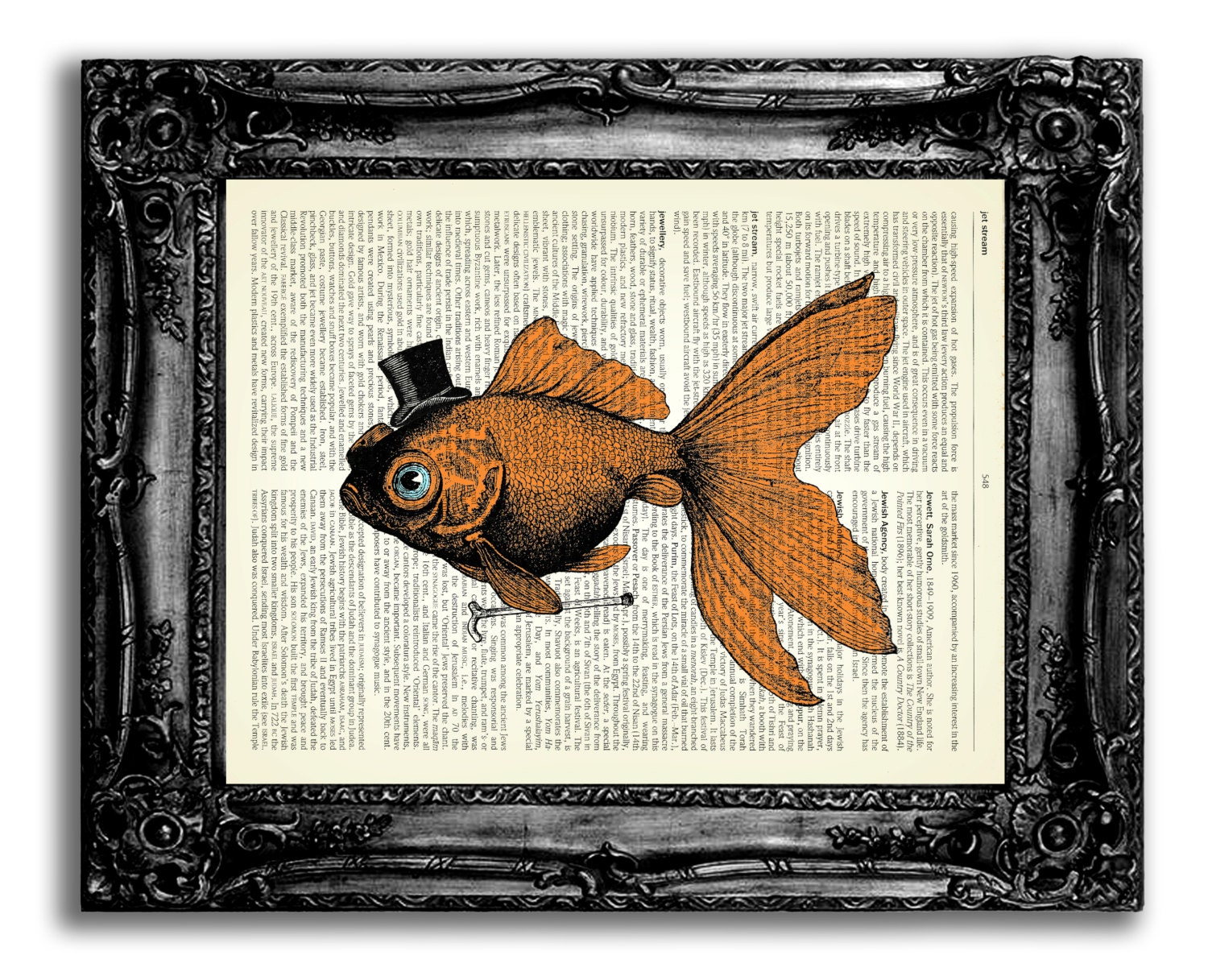 goldfish in top hat with cane vintage dictionary art print