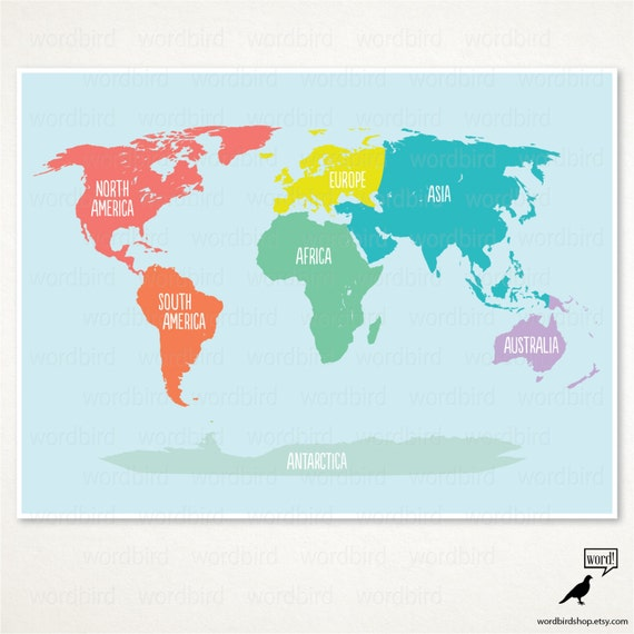 Items similar to Nursery world map poster / Kids room ...