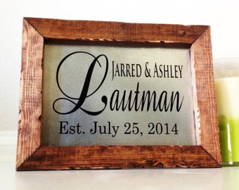 Personalized Wedding Gift Unique Wedding Gifts For Couple Rustic Sign Wood And Metal Last Name Sign