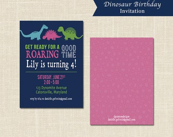 GIRLS DINOSAUR party INVITATION, pink, purple, green, blue, digital file or professional printing available
