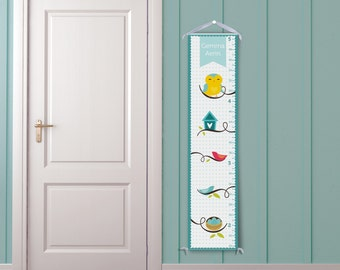 Playful Owls - Personalized Childrens Growth Chart