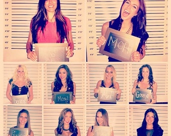Mugshot Photography Backdrop - Photo Booth Mug Shot Day after lineup picture-Weddings, Bachelorette, Birthday party,etc... (FD6008)