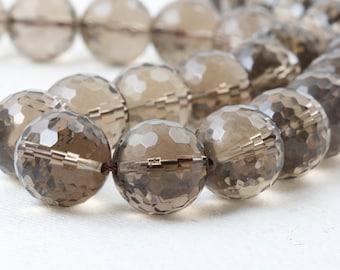Huge Smokey Quartz Beads Faceted 15mm round natural undyed 4 beads AAA Grade translucent quartz