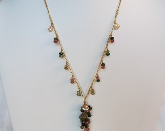 Multi-Colored Tourmaline, Pearl Handmade Lariat Necklace with 14K Gold Filled Chain