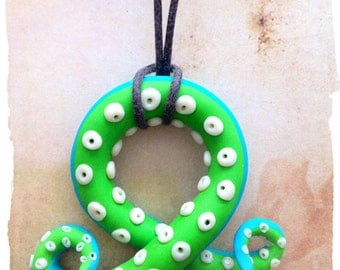 Bright Green/Turquoise Tentacle pendant