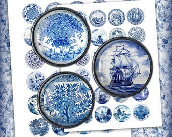Delft Circle Images - Digital Collage Sheet 1.5 inch, 1.25 inch, 30mm, 25 mm, 1 inch Printable Images - Instant Download