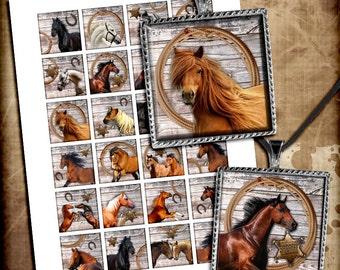 Horses Square Images 1x1 inch, 1.5x1.5 inch for Glass Pendants, Magnets, Resin Pendants Printable Digital Collage Sheet