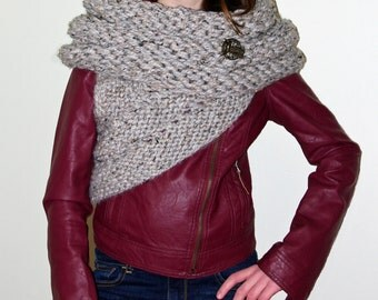 Hand-knitted Asymmetric Cowl Vest