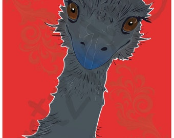 """Emu 8"""" x 10"""" Photo Print with 1/8"""" border for framing"""
