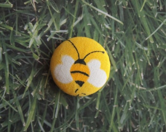 Yellow bumble bee print fabric covered buttons (size 60, 40)