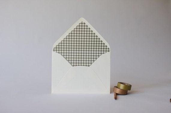 houndstooth lined envelopes (25 color options) - sets of 10