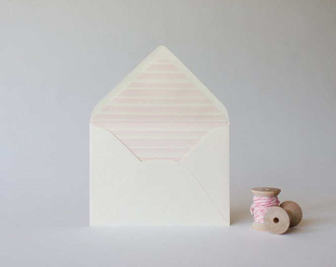 watercolor stripes lined envelopes (4 color options) - sets of 10