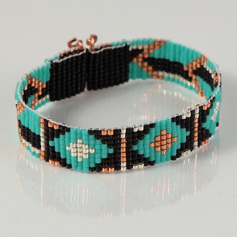 tribal arrows bead loom bracelet artisanal jewelry