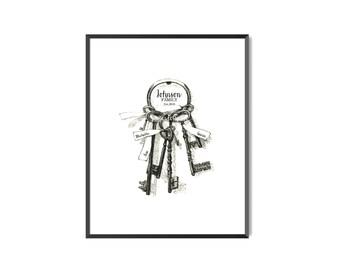 Custom Family Name established - baby shower, birthday, wedding, new home, housewarming art print