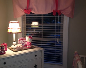 Window Valance, Tie Up Valance, Nursery Valance, Girls Valance, Pink Valance