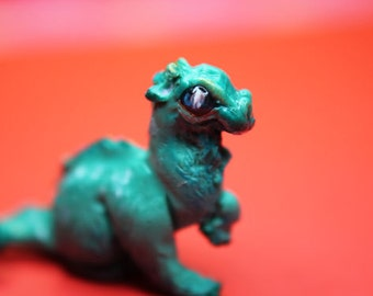 Teal mini dragon, handmade collectible, props for dollhouse and diorama