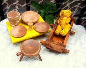Doll House Furniture Colonial, Cradle  stool, dishes, bucket, mug 1960s natural wood finish Unusual pieces.