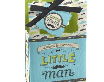 Dashing Little Man Mustache Party Favor Boxes - Custom Party Supplies - Set of 12