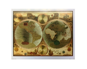 Historic map etsy vintage metal etching old world map 16x20 art print a sciox Gallery