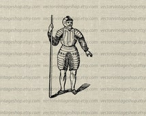 Armored Soldier Vector Graphic Instant Download Clipart Plate Armor Medieval Warfare Printable Victorian Illustration jpeg png eps WEB1723BC