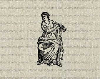 Greek Muse Vector Graphic Instant Download, Ancient Greek Euterpe Woman Flute, Musician Clip Art Illustration jpeg png eps WEB1728AF