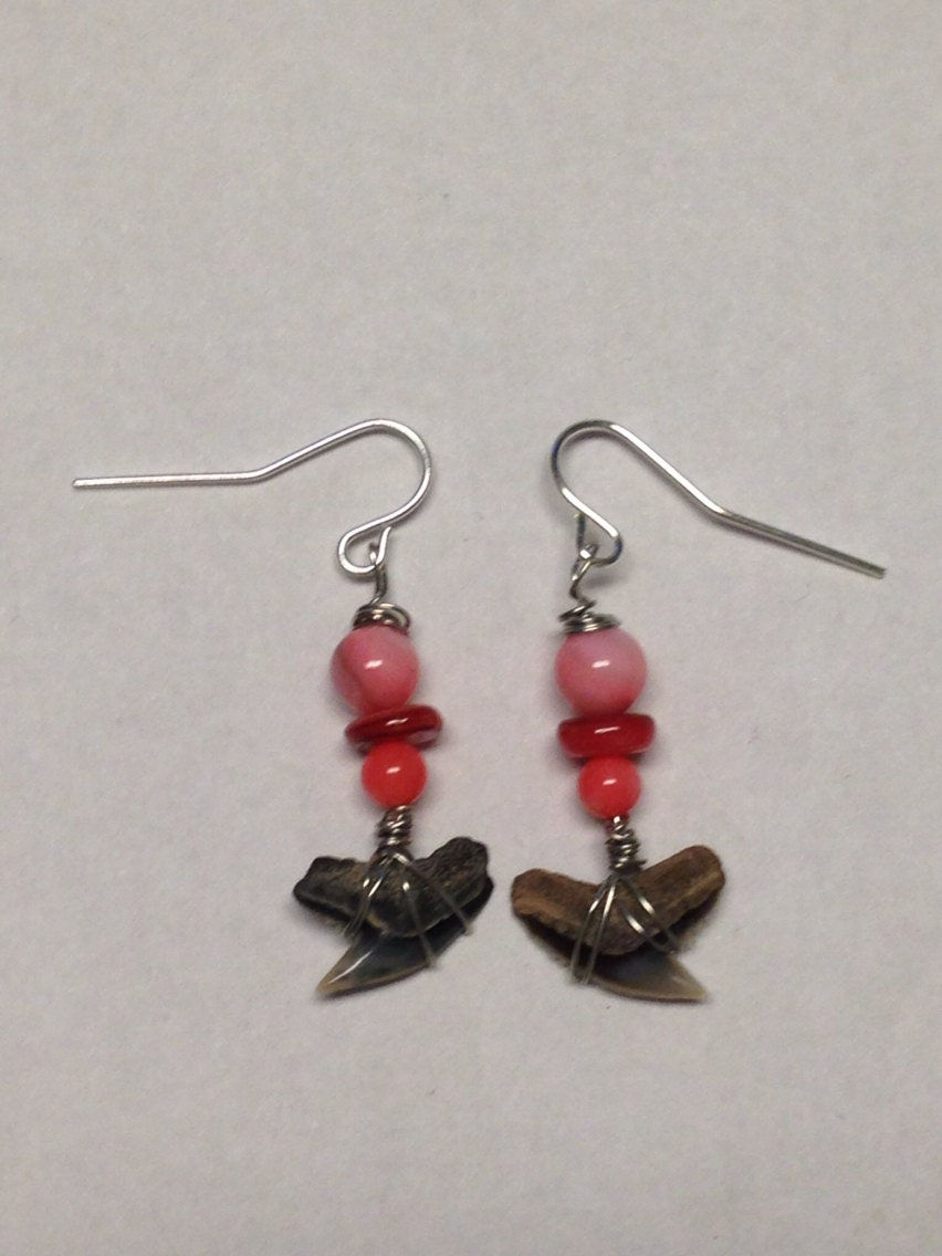 pink dangle earrings with sharks teeth sharks teeth jewelry