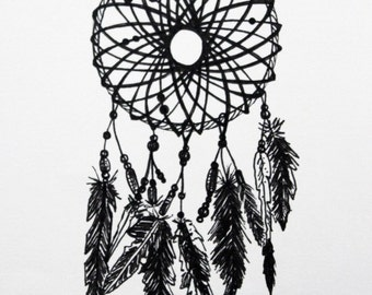 Dream Catcher Ink Drawing