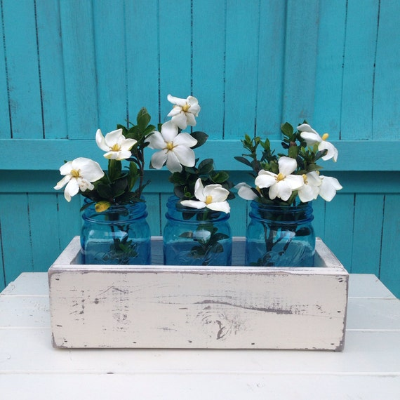Planter box distressed wood wedding centerpiece