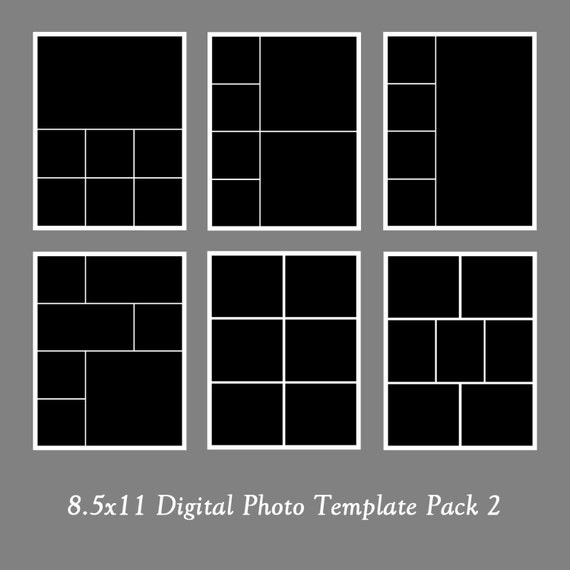 Photoshop Layout Templates: 8.5x11 Photo Template Pack, Photo Collage, Portfolio