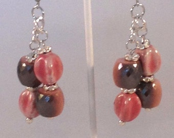 Pink and Gray Chandelier Statement Earrings