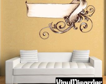 Ornate Scroll Wall Decal - Wall Fabric - Vinyl Decal - Removable and Reusable - ScrollOrnateUScolor002ET