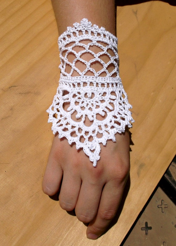 items similar to delicate handmade lace crochet bracelet ring slave bracelet inspired by henna. Black Bedroom Furniture Sets. Home Design Ideas