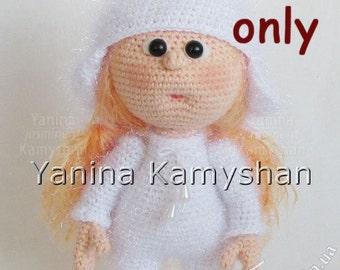 Little Stacy in a bunny costume, crochet doll, amigurumi, pdf