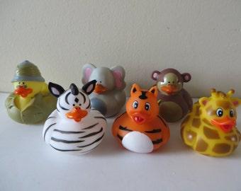 Safari rubber ducks.- giraffe, tiger, monkey, elephant, zebra, hunter - Get wild and crazy!
