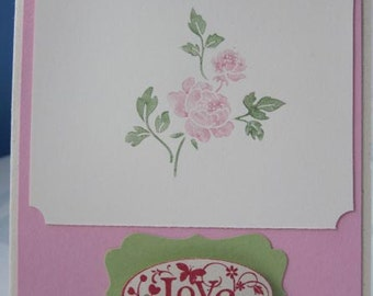 Handmade Love Greeting Card with Rose in Pink Red and Green