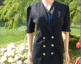 80s Designer Kasper A.S.L. Black Pleated Short Sleeved Double Breasted Jacket Women's  Size 14