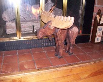 wooden moose figurine
