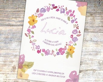 Bridal Shower Invitation - Pastel Floral Garland Design
