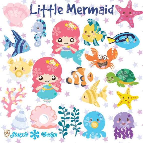 Items Similar To Cute Chibi Mermaid Clipart Under The