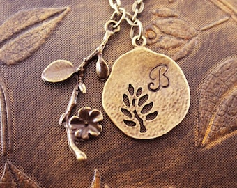 Personalized Jewelry, Monogram Necklace, Engraved Necklace, Initial Necklace, Custom Necklace, Customized Necklace, Flower Necklace