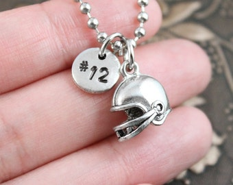 Football Necklace, Initial Necklace Personalized Necklace, Football Pendant Necklace, Custom Necklace, Football Helmet Charm, Monogram