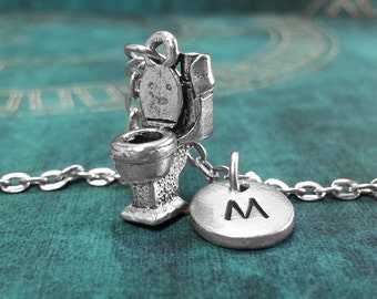 Toilet Necklace, Personalized Necklace, Toilet Pendant Custom Potty Necklace Bathroom Necklace Monogram Necklace Charm Necklace Plumber Gift