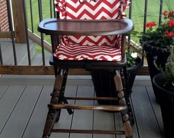 Wooden Highchair Cover/Pad/Cushion:  Red. High chair cover/pad/cushion Chevron back/seat cushion for wooden/vintage highchairs.
