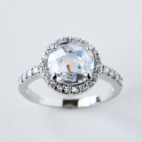 halo engagement ring cz ring halo ring cz by myrascollections