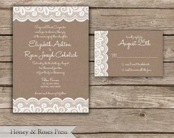 Burlap and Lace Wedding Invitation  .  Rustic Wedding Invitation  .  Digital Invite  .  Printable Invite