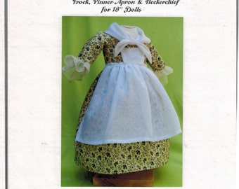SALE COMPLETE KIT 18 Inch Historical Doll 18th Century Frock Pinner Apron and Neckerchief Dress Clothes Felicity American Girl Past Crafts