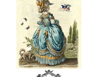 I'invitation, french, romantic, roses, birds, 18th century, butterflies, WickedlyLovely  Marie Antoinette inspired blank Greeting Card