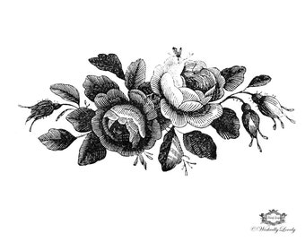 Black and white Victorian Roses Illustration Wickedly Lovely Skin Art Temporary Tattoo,