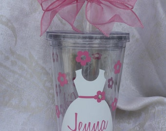 Flower Girl Tumbler. Personalized Flower Girl Cup. Wedding favor. Tumbler with Gem. Double wall insulated acrylic tumbler. (item #3-1-FG)
